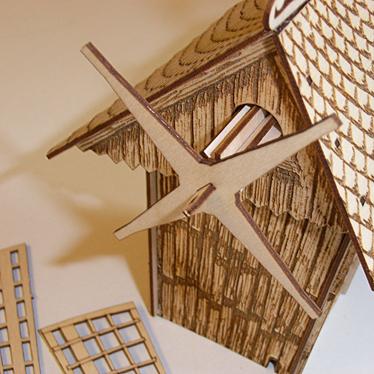 DAMASU Rauchhaus Windmühle Dach