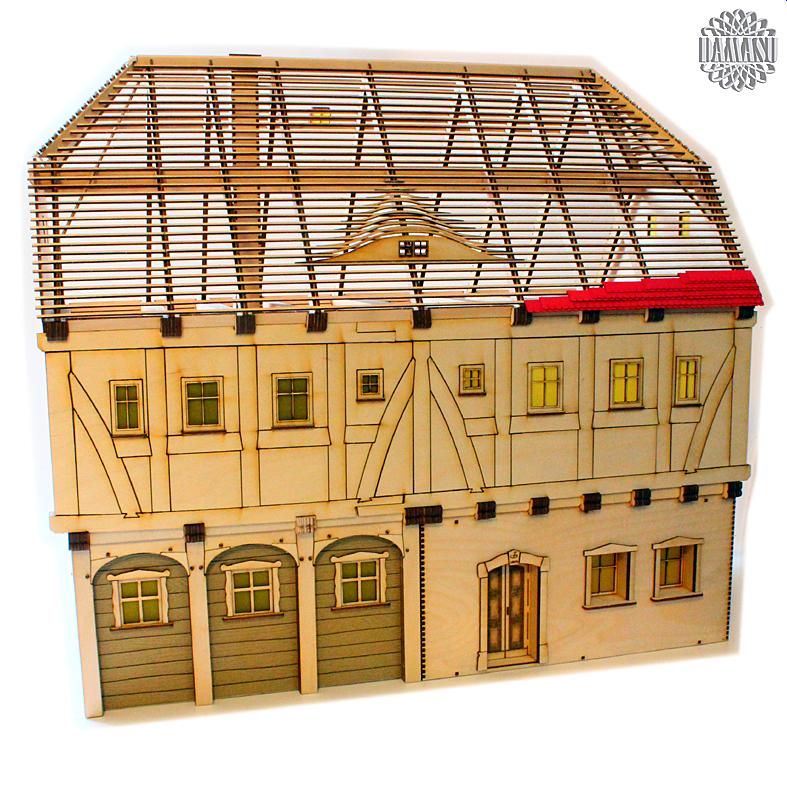 Umgebindehaus 0 bausatz modellbau spur 0 mb0 ha02 for Fachwerkhaus aufbau